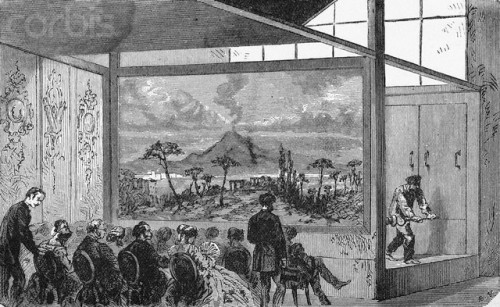 Original caption: Photo shows people watching Daguerre's diorama.  Undated illustration. --- Image by © Bettmann/CORBIS